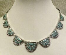 LUCKY BRAND FRONTAL NECKLACE SCALLOPS OF TURQUOISE & SILVERTONE, NWT, $49!