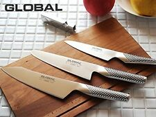 GLOBAL: 4pcs set H - Bunka knife, Slicer, Petty, Knife sharpner New [1003005]