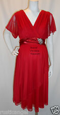 New Red Chiffon Vneck Sleeves Maternity Dress Cocktail Special MEDIUM Shower NWT