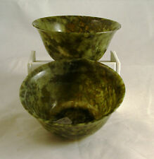 "Set of Vintage 4"" Hand Carved Natural Translucent Jade / Serpentine / Stone Bowl"