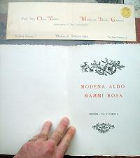 1926 LOTTO DI DUE CARTONCINI PER NOZZE DI PERSONAGGI MODENESI