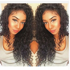 "18"" Black Brazilian Human Hair Deep Curly Lace Front Wig Full Wig With Baby Hair"