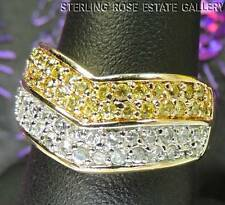 CUBIC ZIRCONIA CHEVRON VERMEIL STERLING SILVER 925 ESTATE WEDDING BAND RING sz 8