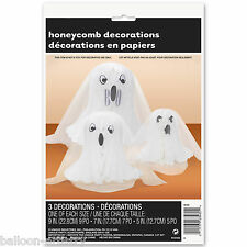 3 Haunted Halloween 3D Honeycomb Friendly Ghosts Spooks Table Decorations