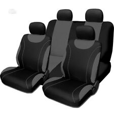 New Sleek Black and Grey Flat Cloth Seat Covers Set For VW