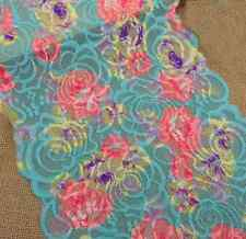 "9"" Wide Stretch Teal Green Lace with Colorful Flower  y0293"