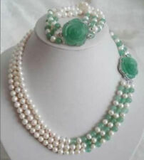 White Akoya Pearl Natural Emerald Necklace Bracelet Set AAA+