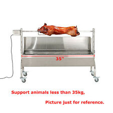 35'' New Stainless Steel BBQ,Rotisserie Spit ,Lamb,Goat,Chicken Spit Roaster