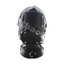 Bondage BDSM PU heavy duty Leather Mask mouth plug & O-rings on Collar blindfold