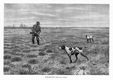 HUNTING SNIPE SHOOTING BY A. B. FROST SPORTSMEN HUNTER DOG POINTER WADERS HUNT