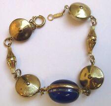 bracelet vintage couleur or gourmette cabochon bleu saphir 3354