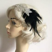 Gatsby Wedding Headband Vintage Feather Headpiece Diamante Chain Hairband