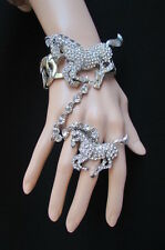 New Women Bracelet Metal Hand Chain Jewelry Gold / Silver Big Horse Slave Ring
