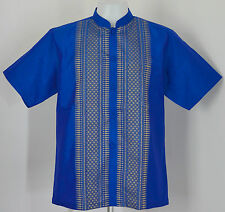 Mens Traditional Thai Silk Shirt ~ Mandarin or Regular Collar ~ Short Sleeves