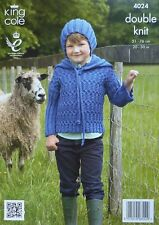 KNITTING PATTERN Boys Long Sleeve Cable Hoodie & Ribbed Hat DK King Cole 4024