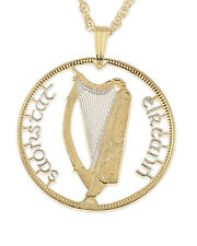 "Ireland Harp Gallic issue Pendant Necklace Hand Cut Coin 1-1/8"" dia. ( # 418 )"