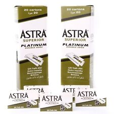 100 ASTRA SUPERIOR PLATINUM DOUBLE EDGE SAFETY RAZOR BLADES BARBERS NO.1 BLADES