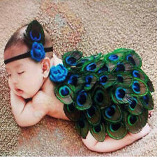 Newborn Baby Peacock Headband Knit Crochet Photography Prop Costume Outfit Sets