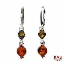 BALTIC AMBER STERLING SILVER 925  MULTICOLOUR DROP EARRINGS. KAB-182