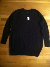 GAP BLACK MATERNITY CROSSOVER V NECK TUNIC SWEATER $49.95 SIZE  XLARGE BNWT