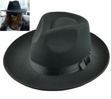 Men's Vintage Style Genuine Wool Felt Wide Brim Fedora Pork Pie Hat Cap Black XG