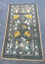 HUGE antique 1800's Indo Persian silk linen embroidered needlepoint tapestry rug