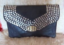 GENUINE MOROCCAN  LEATHER  CLUTCH BAG * BLACK * METAL STUDS