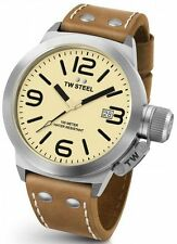 Mens TW Steel 45mm Canteen Brown Leather Cream Dial with Date Quartz Watch CS11