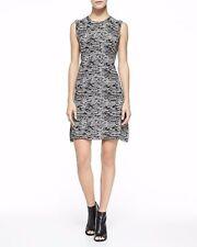 $375 Theory Vimlin Black Ivory Ice Stretch A-line Sweater Dress L 12 14 NWT T310