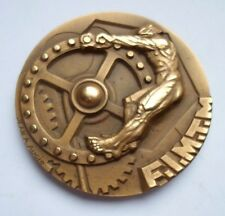 NUDE STRONG MAN IN EFFORT FRENCH ART DECO BRONZE MEDAL / BLANCHARD