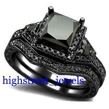 2.33 Ct Black Diamond Bridal Set 925 Silver Engagement Ring Free Shipping (TB)$#