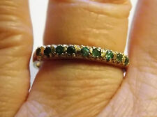 VIntage 9Ct Gold Emerald Eternity Ring - 9 x Emerald Stones - Size P - Full H/M