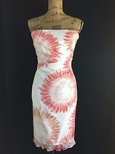 Kay Unger New York 8 Medium white dusty red sunflower Silk ruched party dress