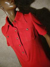 CHIC VINTAGE ROBE JERSEY ROUGE 1970 VTG DRESS 70s KLEID 70er ABITO RETRO (38)