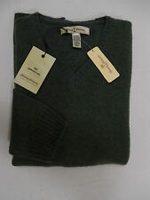 $195 Tommy Bahama Mens V-Neck Wool Sweater L Shirt Olive Green Knit Top Pullover