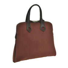 100% Authentic HERMES SAC HEE BOO Hand Bag Brown Canvas Vintage France JT04350