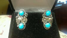 VINTAGE NAVAJO KINGMAN TURQUOISE STERLING SILVER APPLIQUE FLOWER CLIP EARRINGS