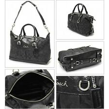 AUTHENTIC COACH ASHLEY SIGNATURE SATCHEL CONVERTIBLE BAG PURSE F15443 BLACK