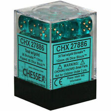 Chessex Dice (36) Block Sets 12mm D6 Borealis Teal w/ Gold Pips 36 Die CHX 27886