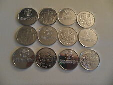 12 Jagermeister Silver Drinking Coins - One Side Mardi Gras - Other Jagermeister