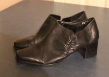 CLASSIC ELEMENTS SAMMI WOMENS BLACK LEATHER ANKLE BOOT BOOTIES size 10M
