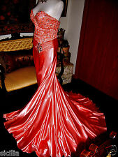$698.00 Tony Bowls Paris Coral Glossy Liquid Satin Pageant Formal Gown Dress 36
