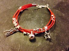 Silver Plated Star Cord Bracelet Pendant Charms Christmas Deer Red