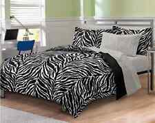 Zebra Bedding Print Set Full Size Comforter Sheets Dorm Bed-in-Bag Microfiber