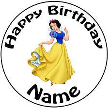 """Cumpleaños Personalizado Nieve Blanca Redonda 8"""" fácil Precortada Glaseado Cake Topper"""