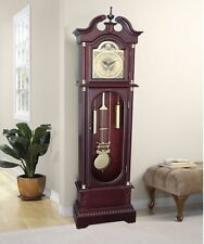 Grandfather Clock Floor Pendulum Westminster Chimes Cherry Finish Wood Decor