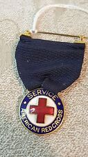WWI WWII American Red Cross Service enameled medal with ribbon
