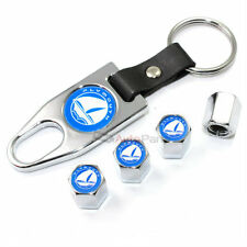 Plymouth Blue Logo Chrome Tire/Wheel Stem Valve Caps + Wrench Key Chain Gift Set