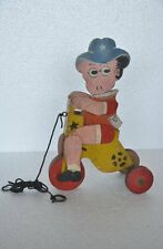 Old Wooden Handpainted Unique Boy Riding Tricycle Pull Along Toy