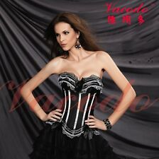 Flower Lace Satin Lace Up Overbust Burlesque Corset Top + Black Tutu Skirt set